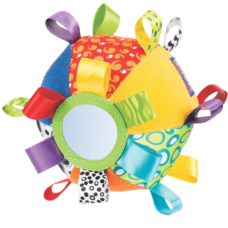 Playgro Pelota de tela con texturas espejo etiquetas y sonajero
