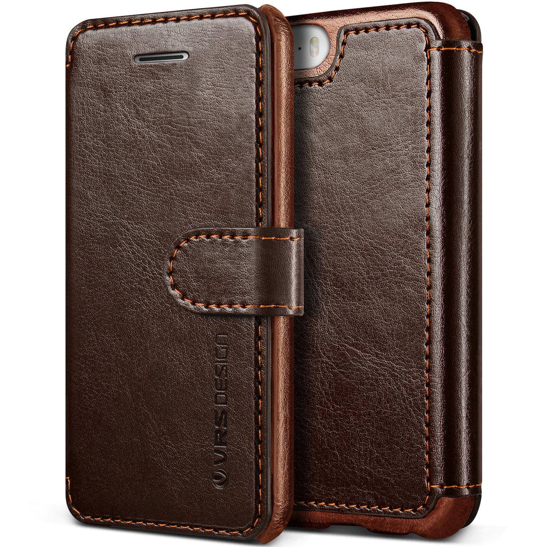 Verus VRI5E-LDDCE iPhone SE Case, VRS Design [Layered Dandy][Coffee Brown] - [Premium Leather Wallet][Slim Fit][Card Slot] for Apple iPhone SE