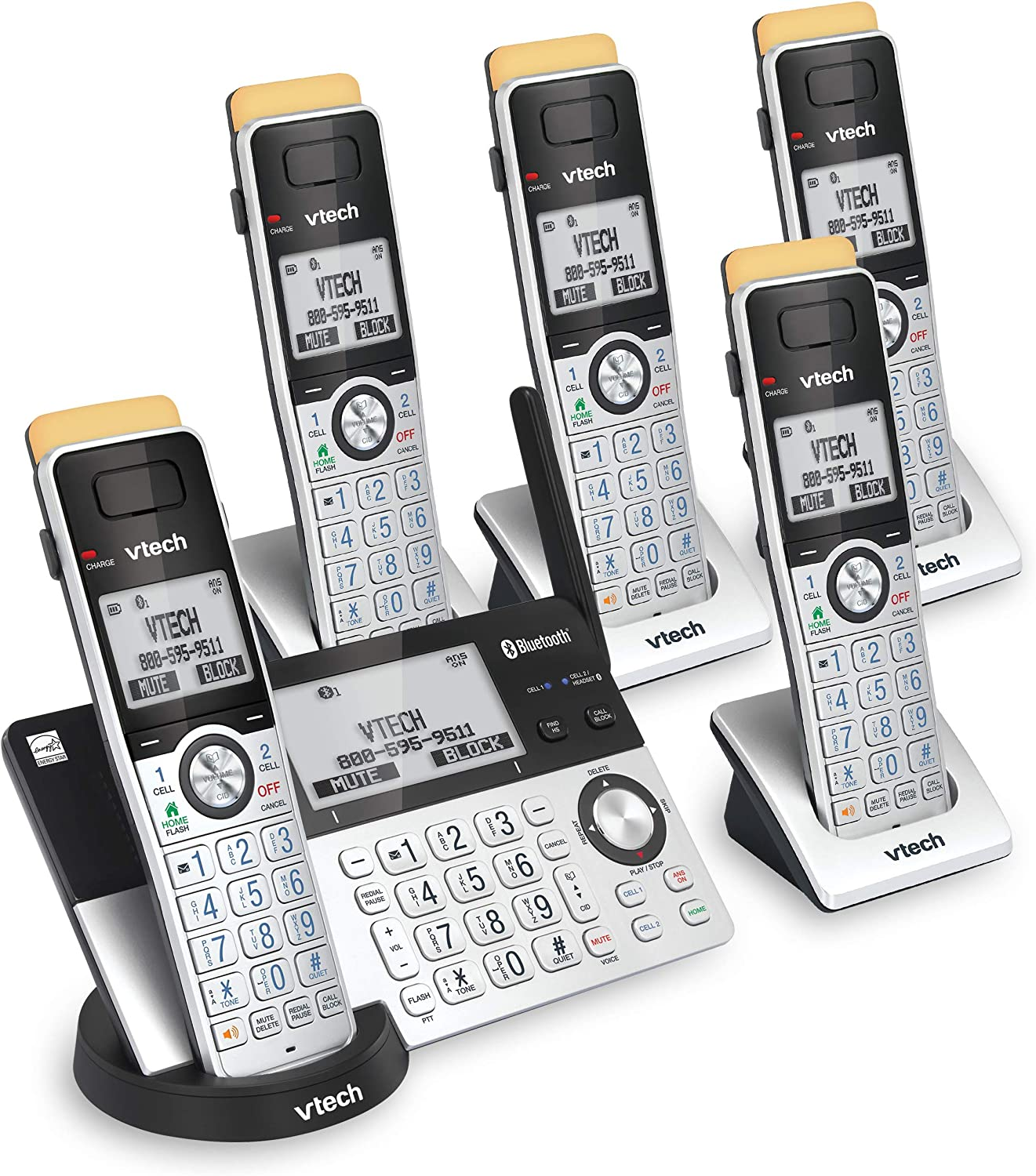 VTech IS8151-5 Super Long Range 5 Handset DECT 6.0 Cordless Phone for Home with Answering Machine, 2300 ft Range, Call Blocking, Bluetooth, Headset Jack, Power Backup, Intercom, Expandable to 12 HS
