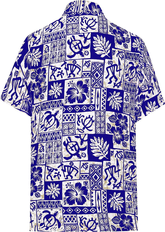 LA LEELA Mens Relaxed Funky Hawaiian Shirt Short Sleeve Front Pocket Printed
