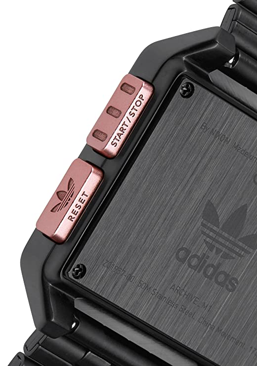 Amazon.com: Adidas Watches Archive_M1. Mens 70s Style Stainless Steel Digital Watch with 5 Link Bracelet (All Black/Copper. 36 mm).: Watches