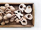 Natural wooden baby teether toys 4pk forest animal