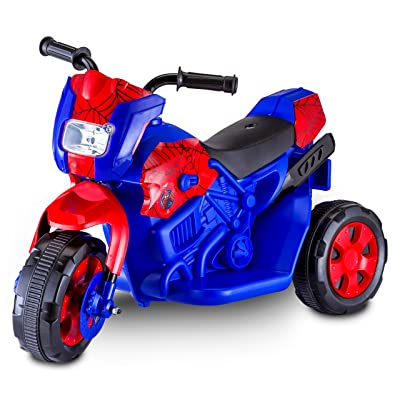 Kid Trax Spiderman Motorcycle 6V Battery-Powered Ride-On Toy: Toys & Games