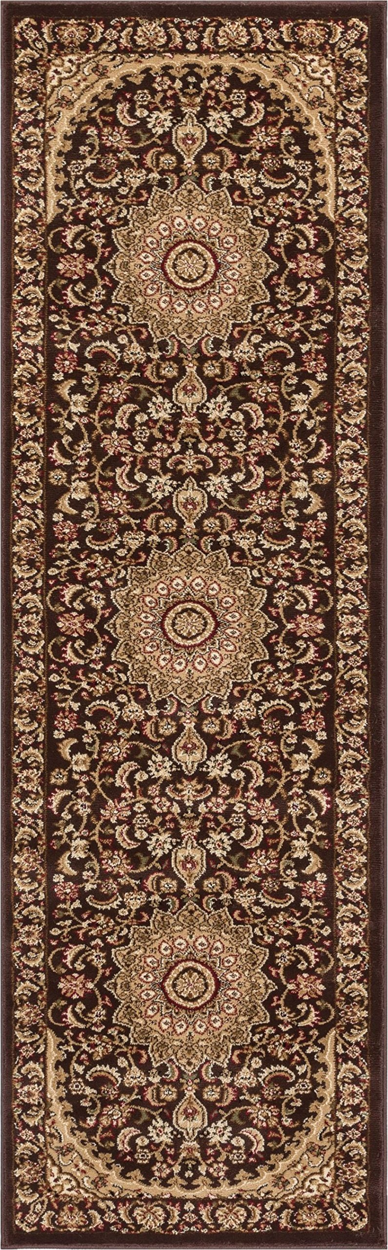 Well Woven 36472 Timeless Aviva Traditional French Country Oriental Brown Rug 2'3'' x 7'3'' Runner