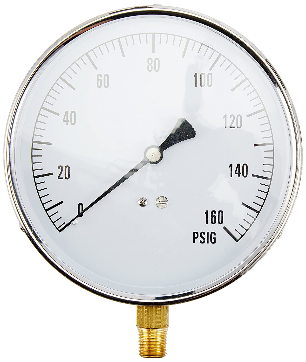 """PIC Gauge CONTRACTOR-4LF4"""" Dial, 0/160 psi Range, 1/4"""" Male NPT Connection Size, Bottom Mount Dry Non-Fillable Contractor Series Pressure Gauge with a Stainless Steel Case, Brass Internals, and Plastic Lens"""