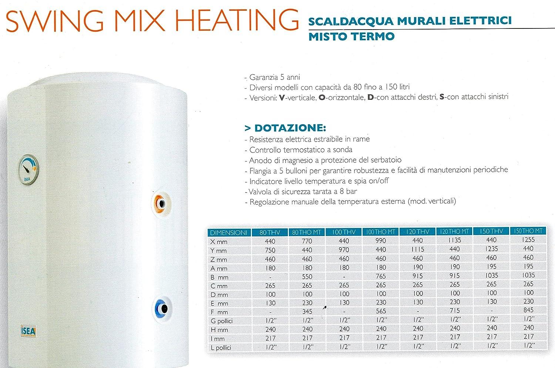 TERMOELLETRICO Scaldabagno 80 litri boiler sinistro sx porcellanato verticale ISEA Gruppo Ferroli