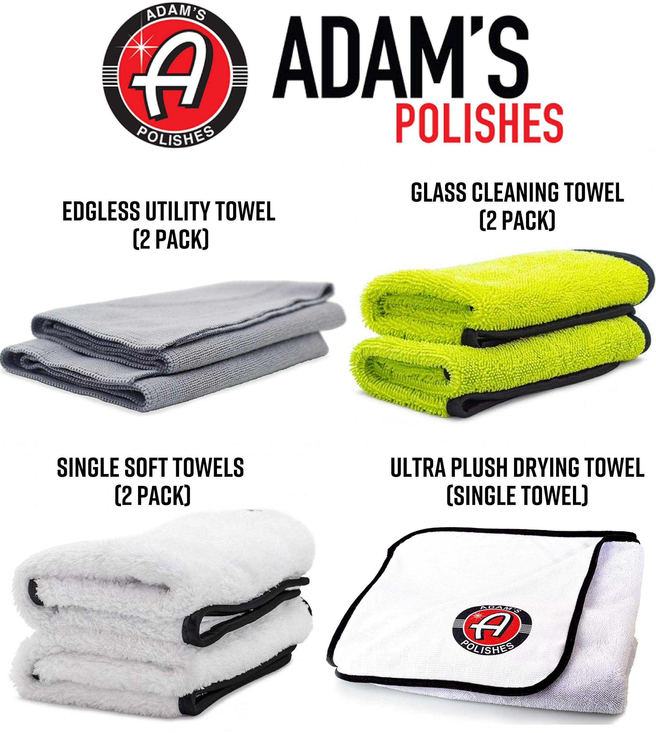 Adam's Essential Towel Bundle - The Best Collection of Car Cleaning, Washing, Drying & Detailing Microfiber Cloths - Wax, Polish, Wash & Dry Your Vehicle with Adam's Soft Car Towels by Adam's Polishes (Image #2)