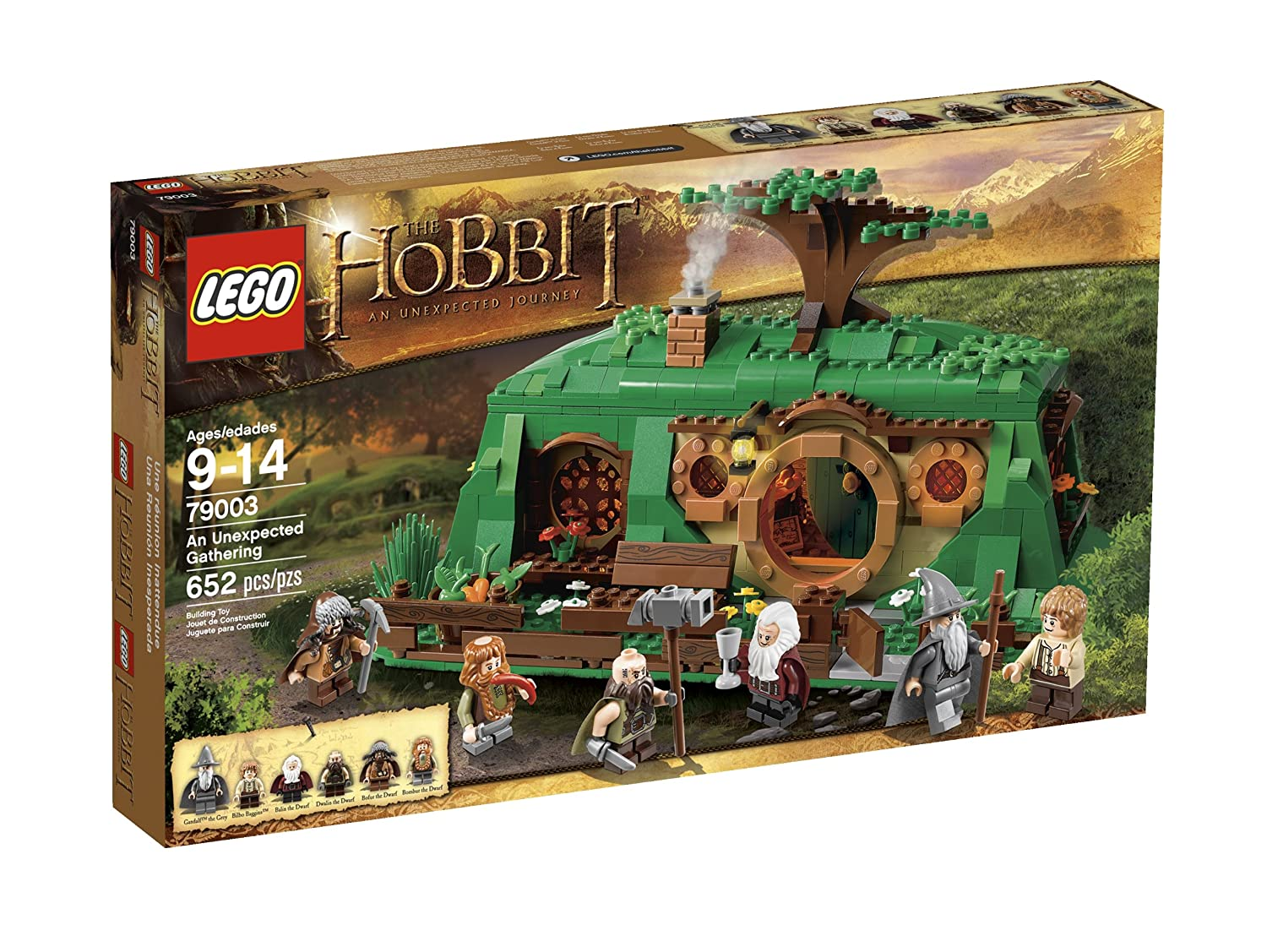 LEGO The Hobbit 79003 An Unexpected Gathering Includes 6 minifigures: Bilbo Baggins in Shire outfit, Gandalf the Grey, Balin the Dwarf, Dwalin the Dwarf, Bombur the Dwarf and Bofur the Dwarf, all with assorted weapons