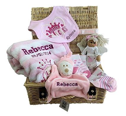 Cesta de regalo personalizada para bebé con cinta y etiqueta, gran regalo para bebé.