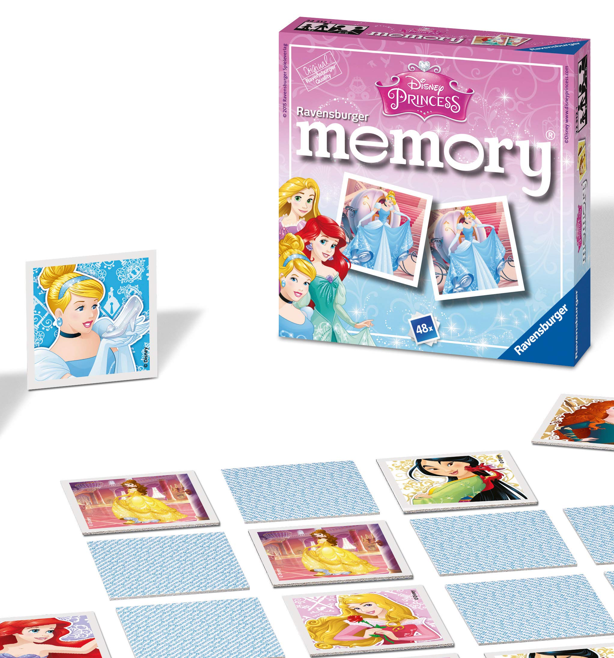 Ravensburger 22312 Disney Princess-Mini Memory Kids Age 3 Years and Up-A Classic Picture Snap Matching Pairs Game