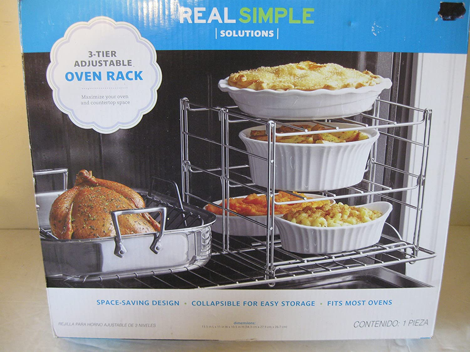 Oven Racks, Adjustable, Real Simple Solutions 3 - Tier Adjustable Oven Racks, Space Saving Design, fits Most Ovens