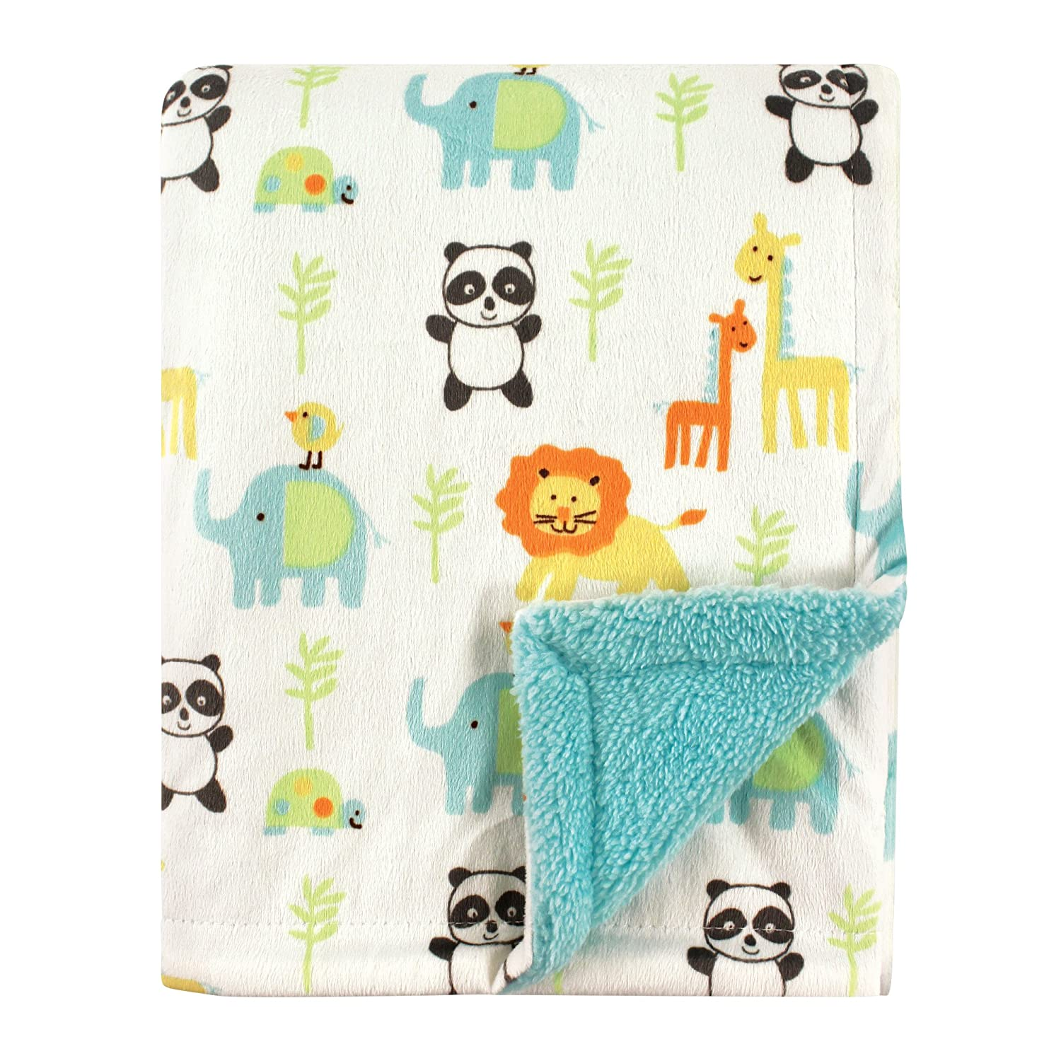 Hudson Baby Printed Woodland Animals Mink Blanket with Sherpa Backing Warm