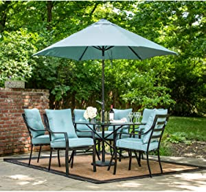 Hanover Lavallette 7 Piece Outdoor Dining Set with Table Umbrella and Base, Ocean Blue