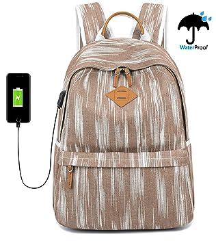 875b33d2a EverVanz Mochila Vintage de Lona para la Escuela, Senderismo, Aire Libre  para Portátil de 12 a 15 Pulgadas: Amazon.es: Informática