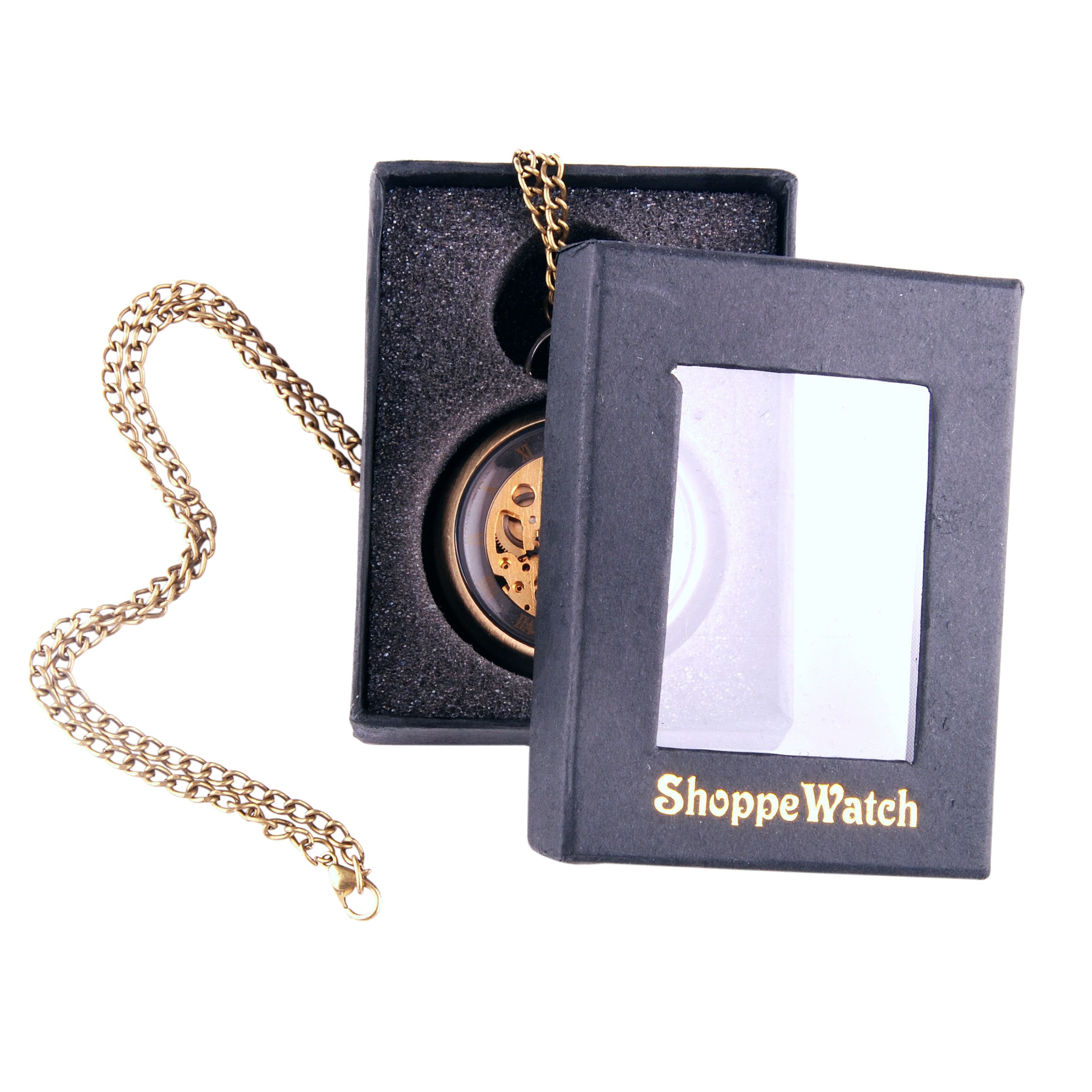 ShoppeWatch Hand Wind Mechanical Skeleton Pocket Watch Open Face Steampunk Style With Chain - PW12 by ShoppeWatch (Image #5)