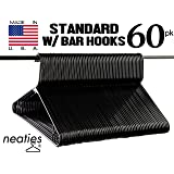 Neaties Black Plastic Hangers Premium Medium Weight Quality w/Bar Hooks, American Made Long Lasting Quality Hangers, VALUE Set of 60