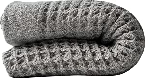 Nutrl Home Waffle Weave Bath Towel - Antimicrobial 100% Supima Cotton (Grey, 55 x 28 Inch) Premium Luxury Bath Sheet Towels - Perfect for Hotels, Travel, Bathrooms, Spa, and Gym