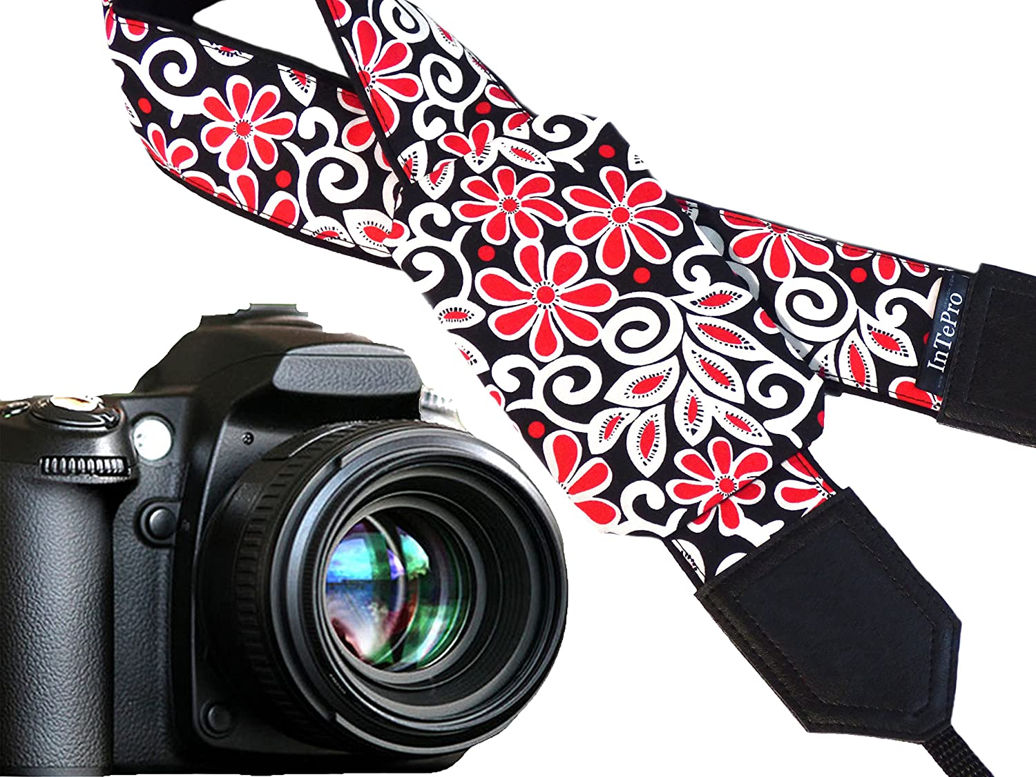 White Code 00331 Black Bridesmaid Gift Ideas Gifts for Every Budget by InTePro Red Pocket Camera Strap with Abstract Flowers