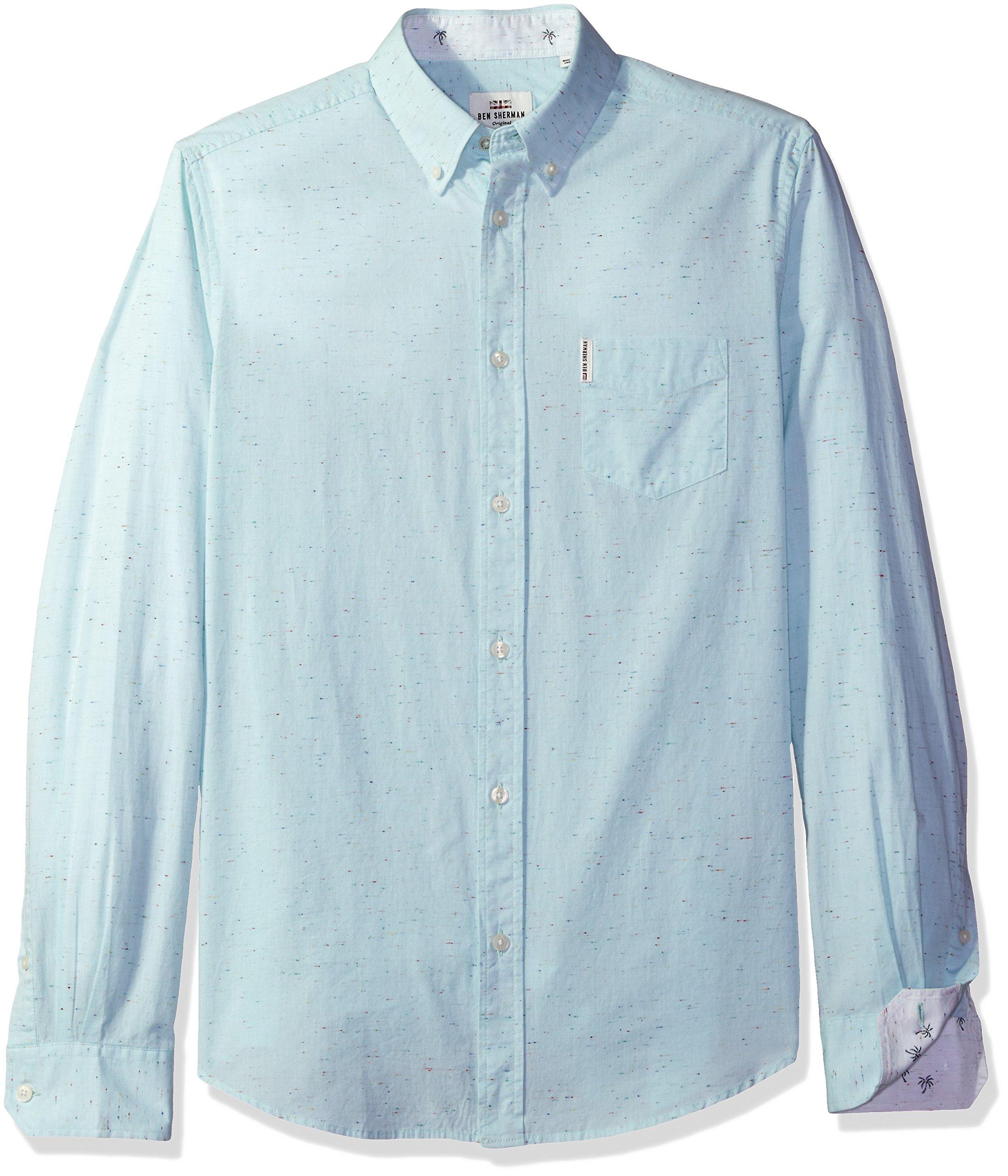Ben Sherman Men's Woven Long Sleeve Summer Print Shirt, Mint, Medium
