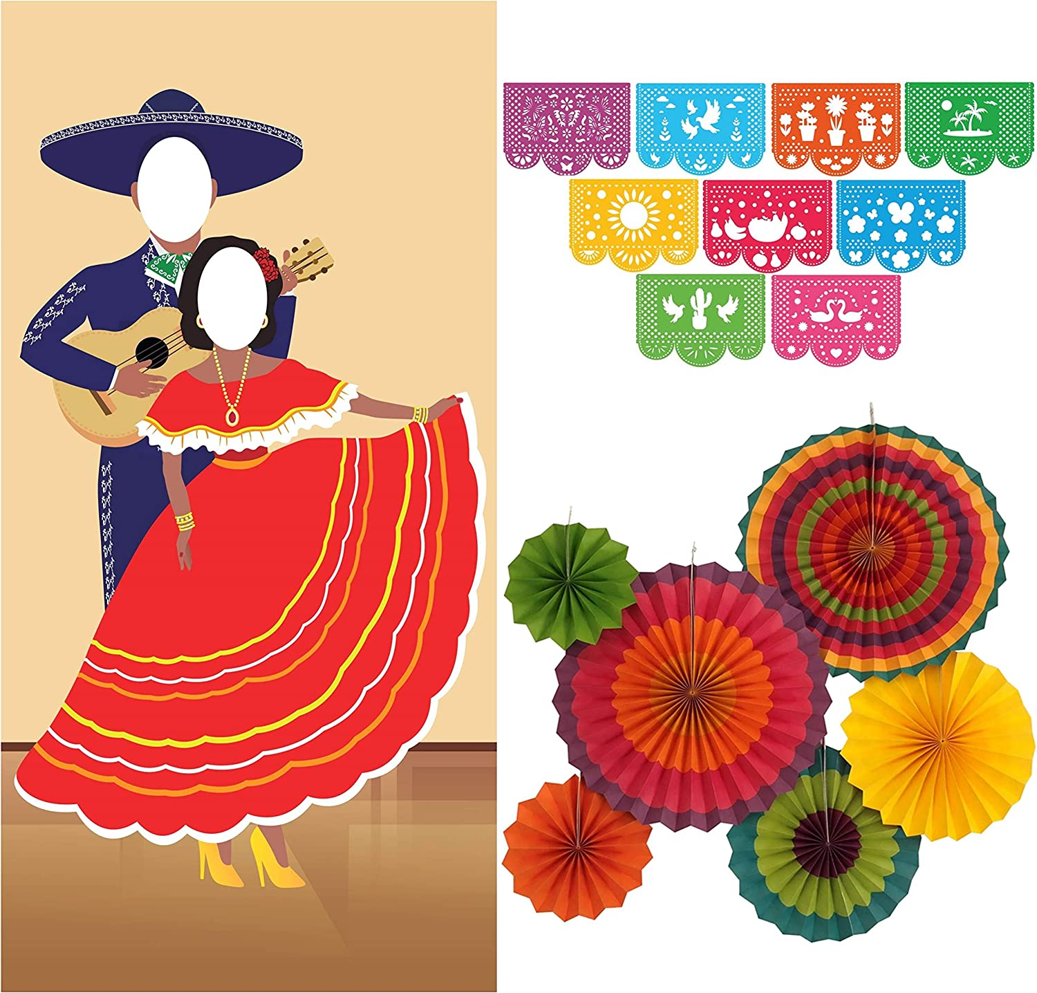 Jelda's Fiesta Couple Photo Door Banner with Fiesta Party Decorations | Mexican Party Decorations and Supplies | Theme Decor for Cinco De Mayo | Large Papel Picado Banner | Colorful Paper Fans