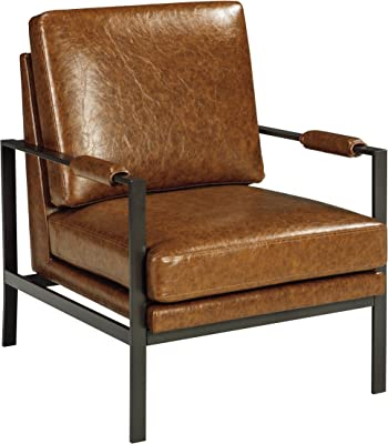 Ashley Furniture Signature Design - Peacemaker Accent Chair - Mid Century Modern - Brown - Antique Brass Legs