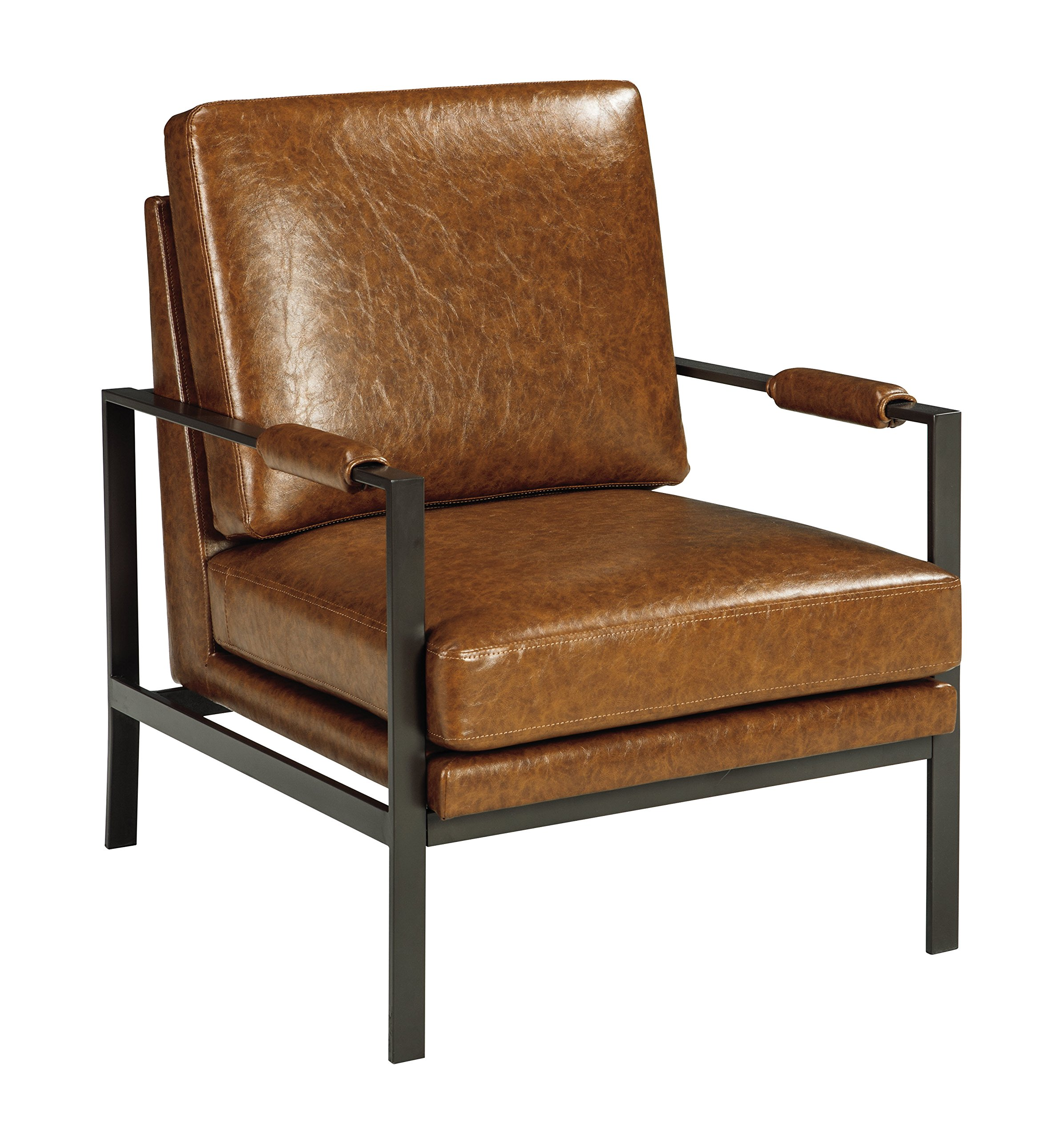 Ashley Furniture Signature Design - Peacemaker Accent Chair - Mid Century Modern - Brown - Antique Brass Legs - MODERN ACCENT CHAIR: You owe it to yourself to rest and relax once in a while, but do so in style. Enjoy how this accent chair's box cushions provide plush, luxe comfort thanks to the faux leather HANDSOMELY CRAFTED: Sit back on high-resiliency foam cushions wrapped in faux leather with upholstery-wrapped padded armrests; supported by an exposed metal frame in an antique brass finish LIGHT BROWN: Fashioned in a rich brown, this chair integrates warmth into your room effortlessly for added depth and liveliness - living-room-furniture, living-room, accent-chairs - 91DekDZeNxL -