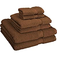 Superior 900 Gram 100% Premium Long-Staple Combed Cotton 6-Piece Towel Set, Black