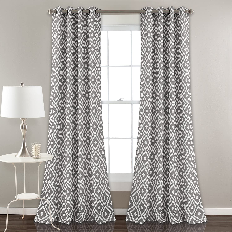 Gary Lush Decor D/écor Diamond Geo Room Darkening Window Curtain Panel Set