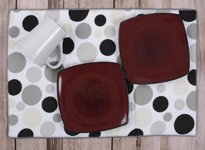 Assorted Warm Colors John Ritzenthaler Co 90058 Ritz Polka Dot Reversible Absorbent Microfiber Dish Drying Mat 21-inch by 14-inch