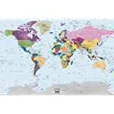 Amazon world map paper wall mural home kitchen academia maps world map wall mural modern colorful map premium self adhesive gumiabroncs Gallery