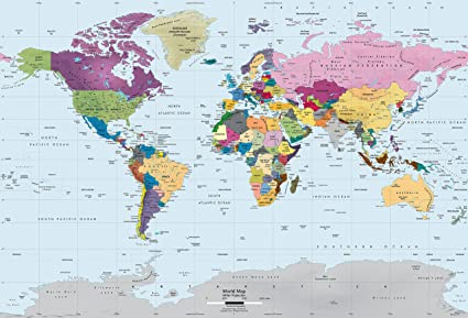 Modern World Map Amazon.com: Academia Maps   World Map Wall Mural   Modern Colorful  Modern World Map