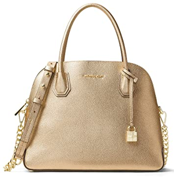 b9272747d6f MICHAEL Michael Kors Womens Mercer Metallic Leather Satchel Handbag Gold  Medium