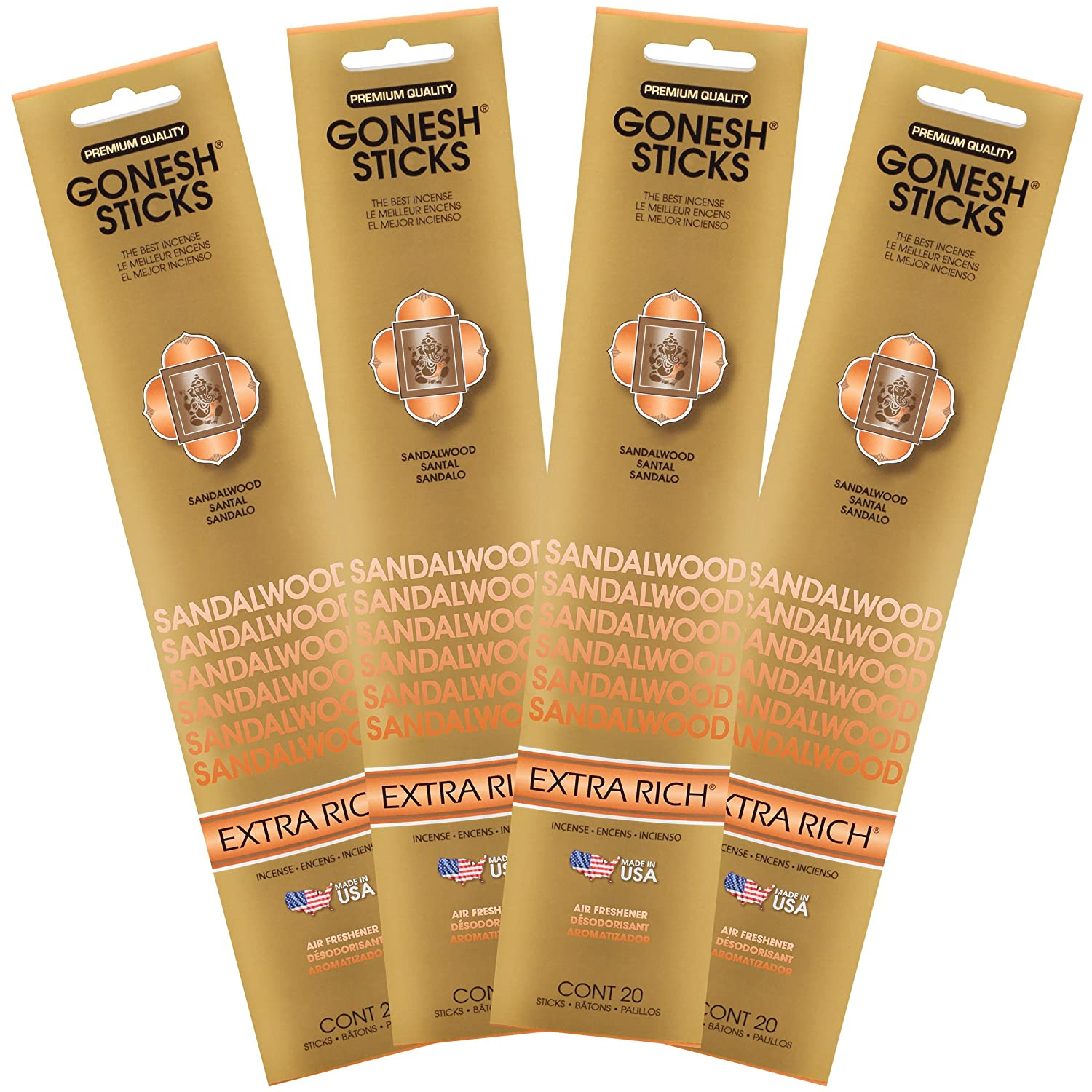 Gonesh Sandalwood – 4 Pack- Extra Rich Incense Genieco Inc. GOA4SA