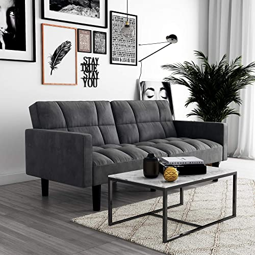 DHP Hayden Convertible Sofa Sleeper Futon with Arms – Grey Microfiber
