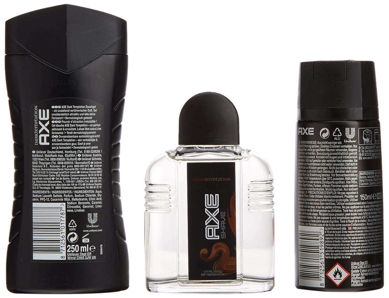 AXE Estuche Dark Temptation Desodorante Spray 150 ml + Gel 250 ml + After Shave 100 ml - 1 Pack