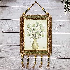 Dimensional Jute Art Decor Watercolor Wall Art Painting Jute Frame Picture Latticed Jute Allium Flowers Sage Blue Beige Mustard Yellow