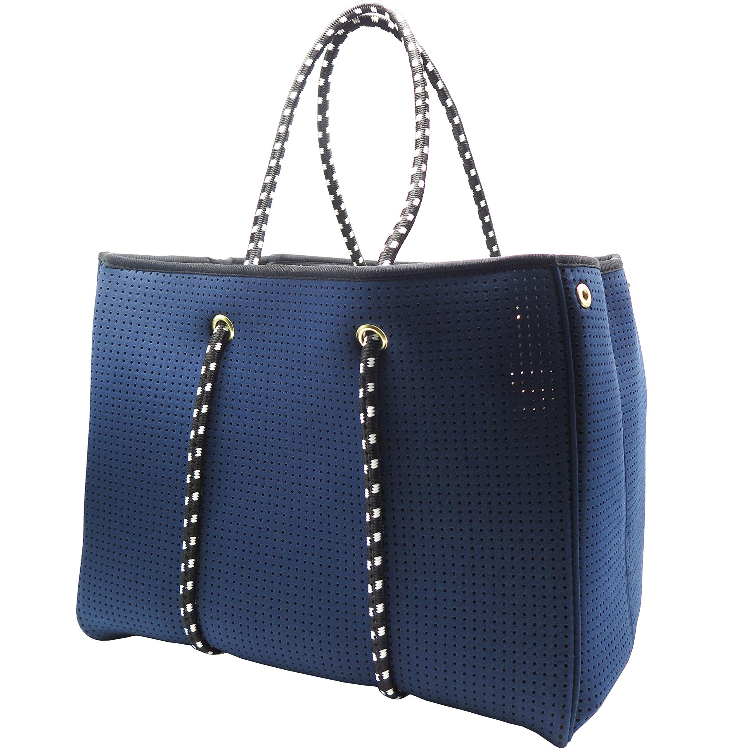 Neoprene Beach Bag tote - Large Daily Mesh Bag by Penn & Soph (Blue)