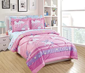 Mk Home 5pc Twin Size Comforter Set for Girls Unicorn Blue Pink Purple Yellow White New