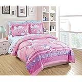Linen Plus Full Size 7pc Comforter Set for Girls/Teens Unicorn Rainbow Castle Pink Purple Yellow White New