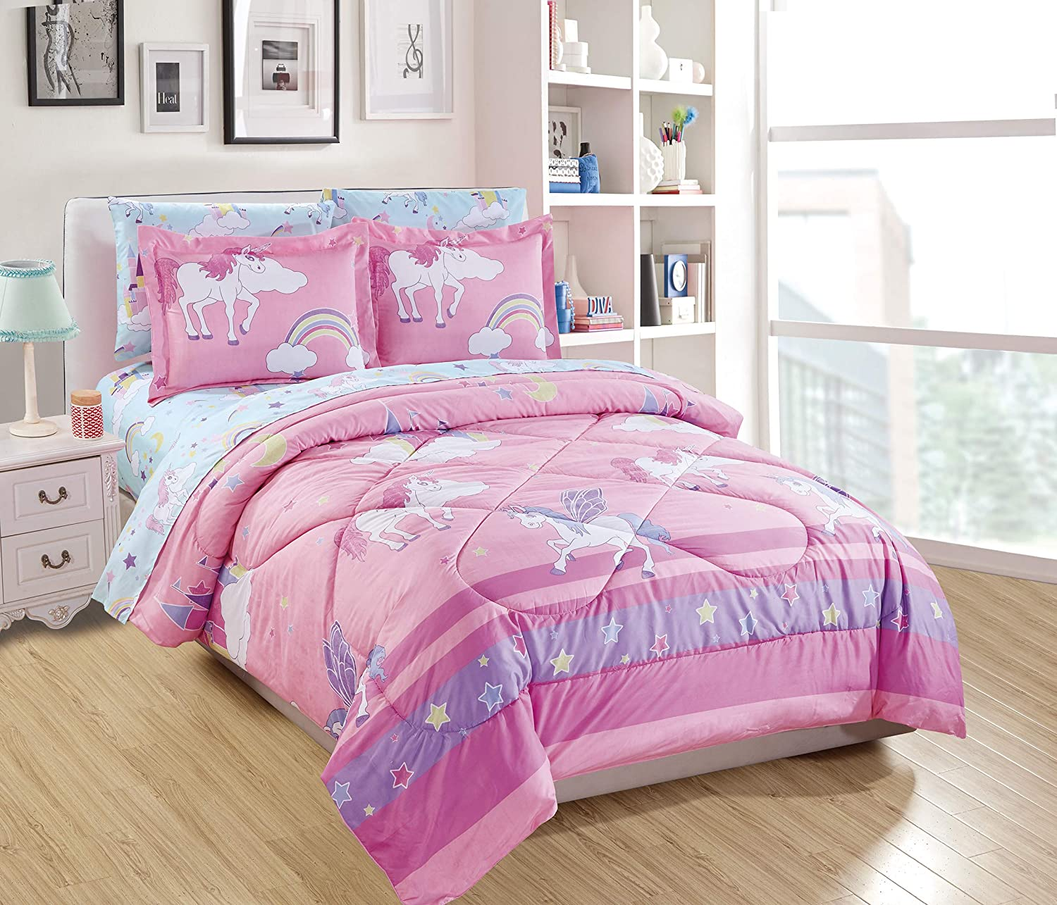 Linen Plus Twin Size 5pc Comforter Set for Girls/Teens Unicorn Rainbow Castle Pink Purple Yellow White New