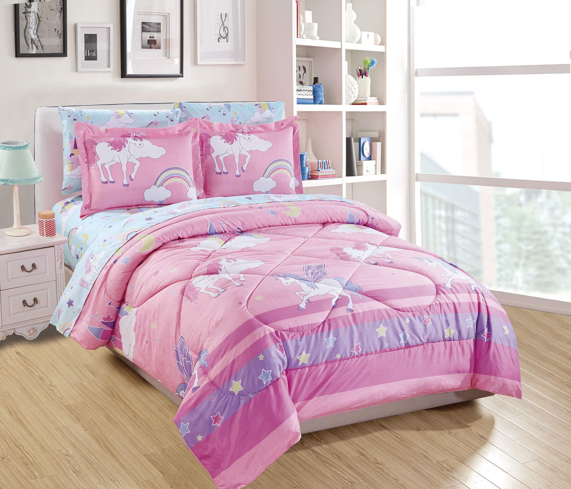 Linen Plus Twin Size 5pc Comforter Set for Girls/Teens Unicorn Rainbow Castle Pink Purple Yellow White New by Linen Plus