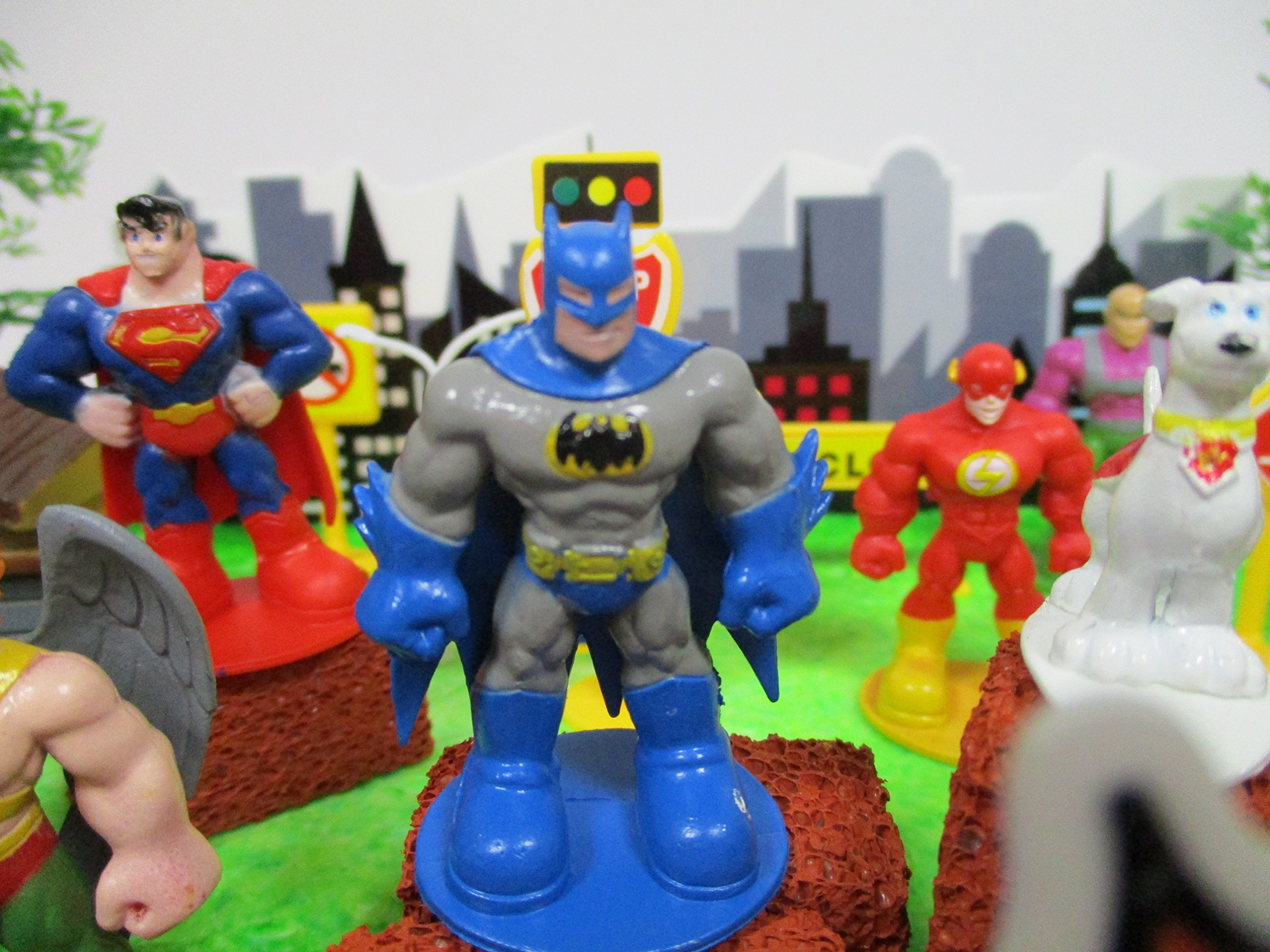 DC Comic Super Friends Birthday Cake Topper Set Featuring Super Hero Crime Fighters and Villains with Decorative Accessories by Kitoo (Image #8)