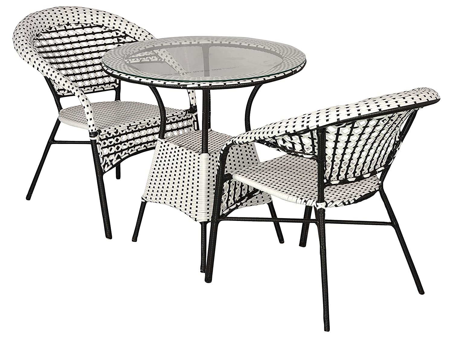 FurniFuture Whlack Outdoor Garden Furniture 6 Chairs and Table Set with  Glass Top (Back and White)