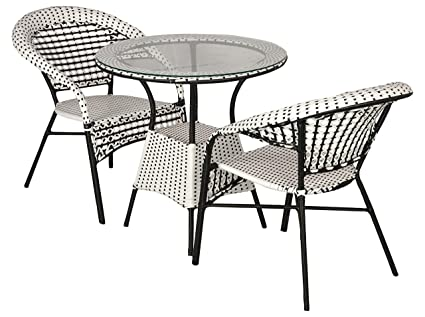 Incredible Furnifuture India Outdoor Patio Furniture 2 Chairs And Table Set With Glass Top Black And White Inzonedesignstudio Interior Chair Design Inzonedesignstudiocom