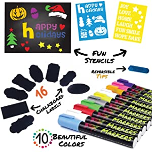 Chalk Markers by Vaci, Pack of 10 + Drawing Stencils + 16 Labels, Premium Liquid Chalkboard Neon Pens, Including Gold, Silver and Extra White Ink, Bullet or Chisel Reversible Tips (Tamaño: 1 Pack)