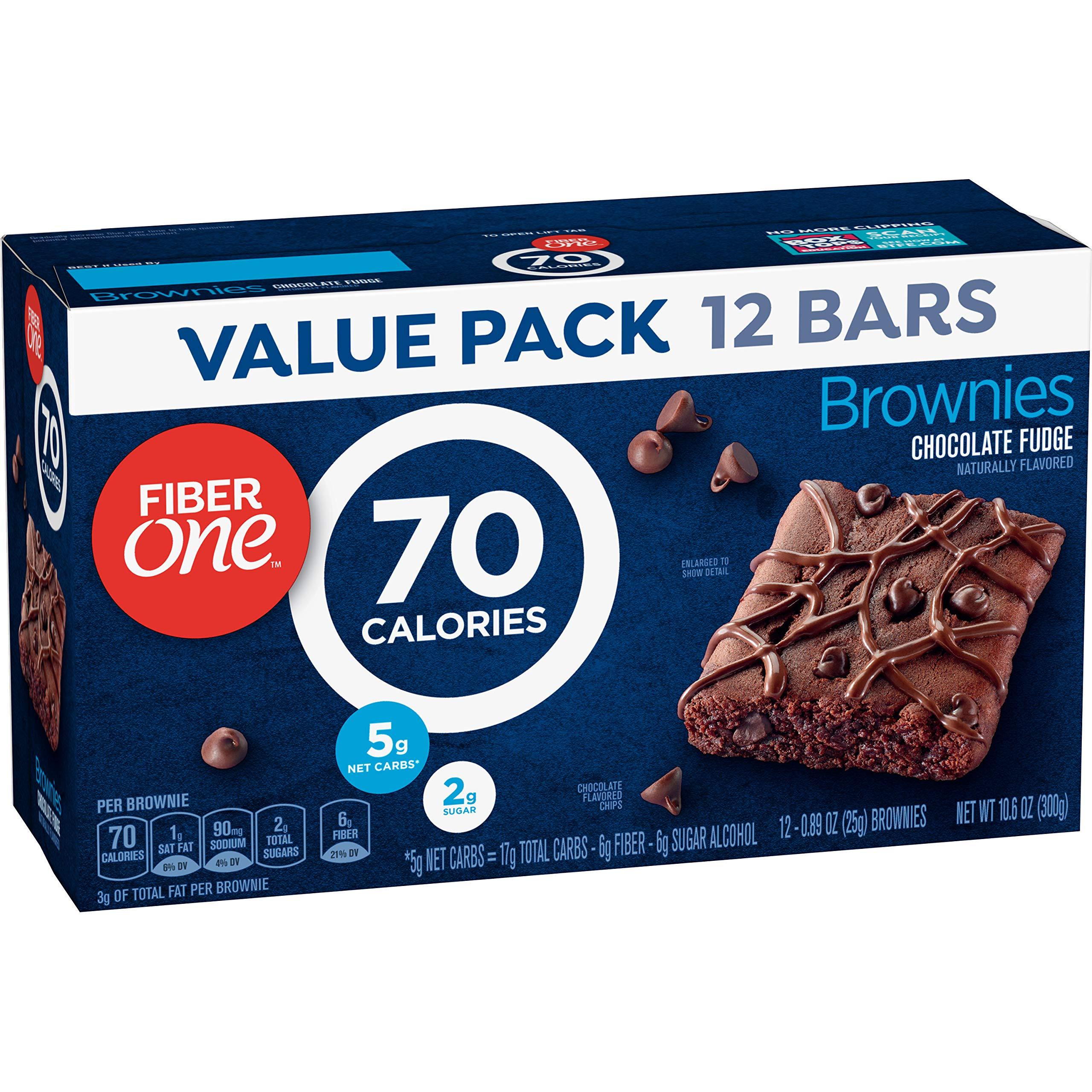 Fiber One Brownies, 70 Calorie Bar, Chocolate Fudge Brownie, 12 Fiber Bars, 10.6 oz