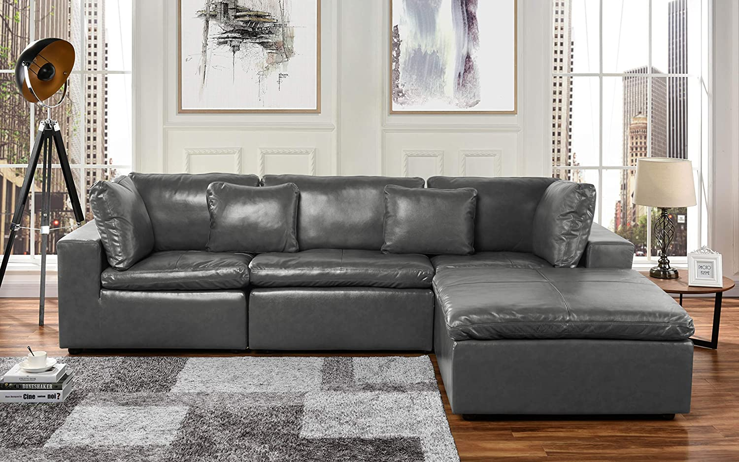 Upholstered Leather Sectional Sofa, Corner Couch, 111.8\
