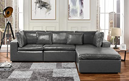 Amazon Com Large Leather Sectional Sofa L Shape Couch With Wide