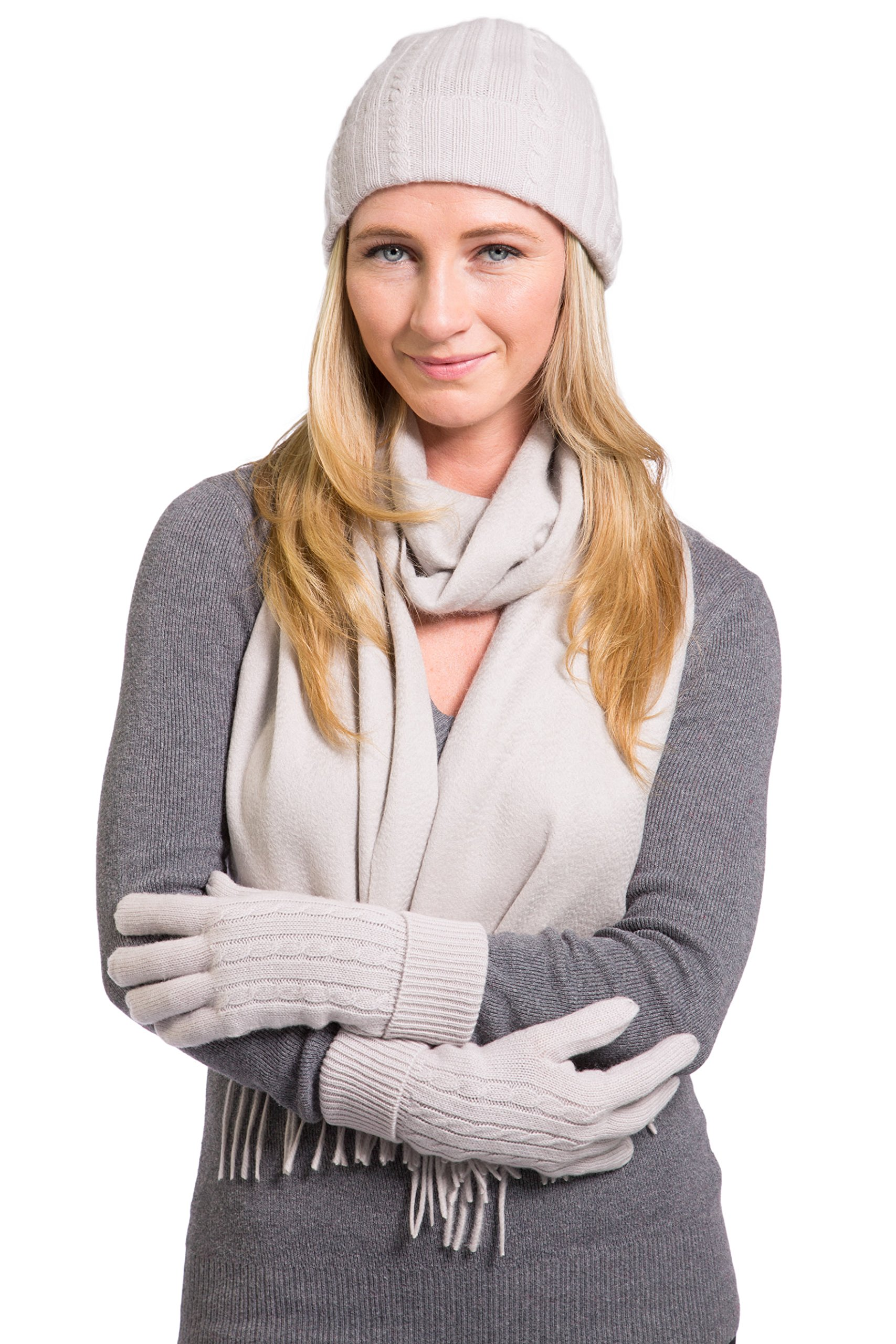 Fishers Finery Women's 100% Cashmere Hat Glove and Scarf Set; Gift Box (Stone)