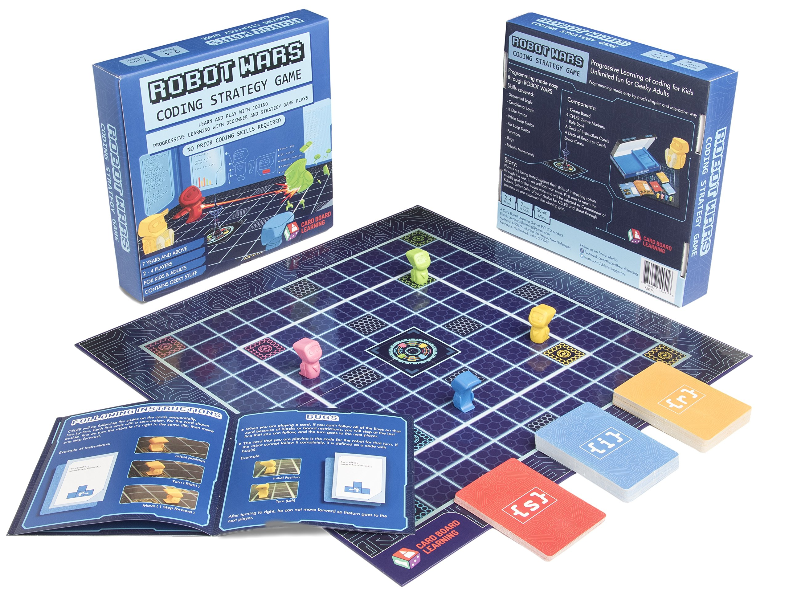 ROBOT WARS Coding Board Game - Learn and Play with Computer Programming. Geeky STEM Toy and Gift for Boys and Girls ages 7 years and up. No Prior Coding Skills Required